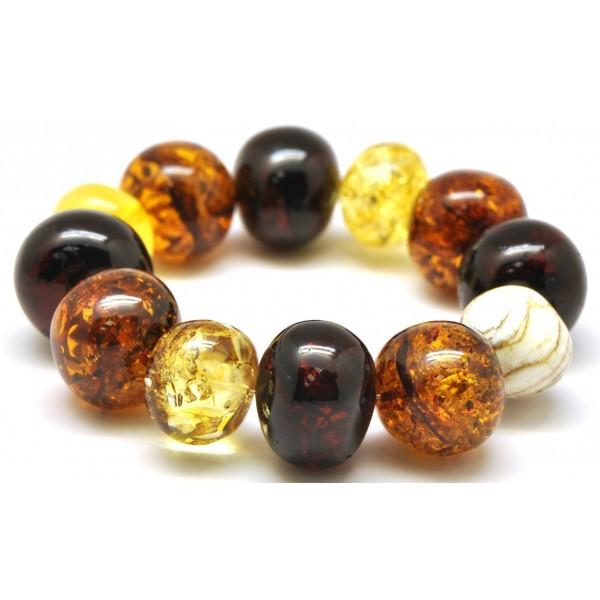 Amber bracelets | Multicolor baroque beads Baltic amber bracelet 78 g .