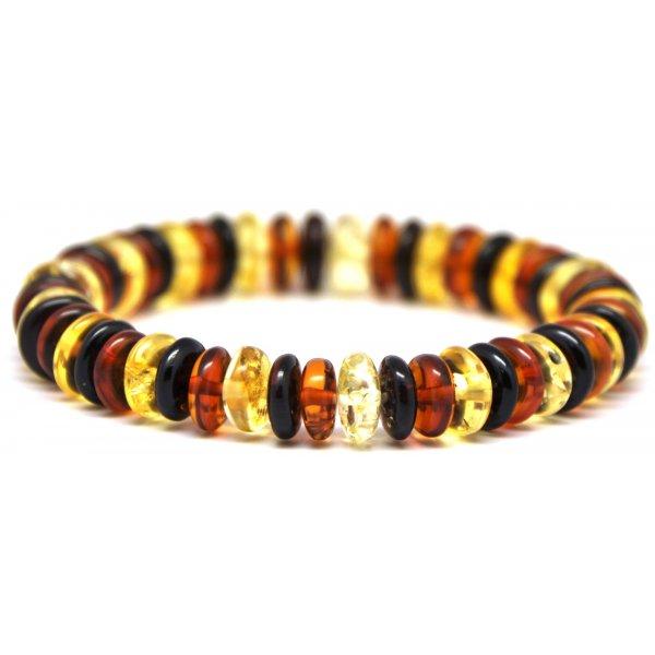 Baltic amber elastic multicolour bracelet -AB2143