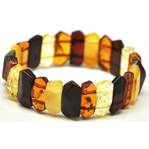 Faceted multicolor Baltic amber bracelet-AB2184