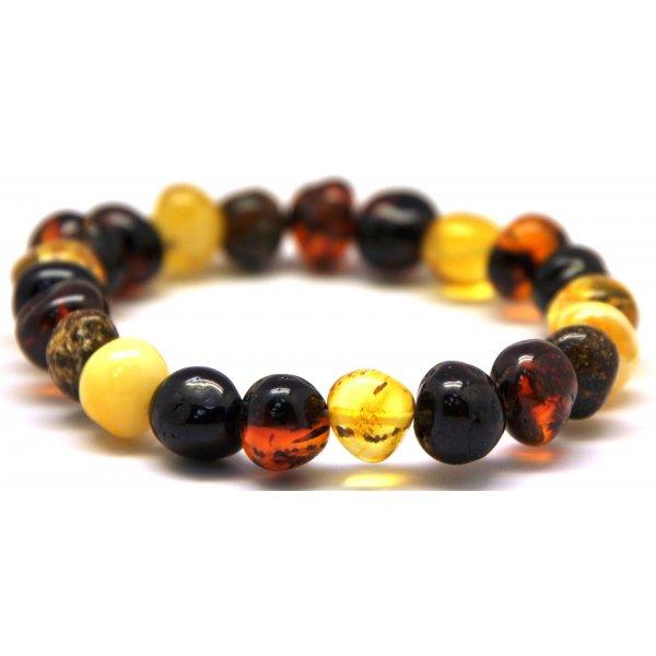 Multicolor baroque beads Baltic amber bracelet-AB2063