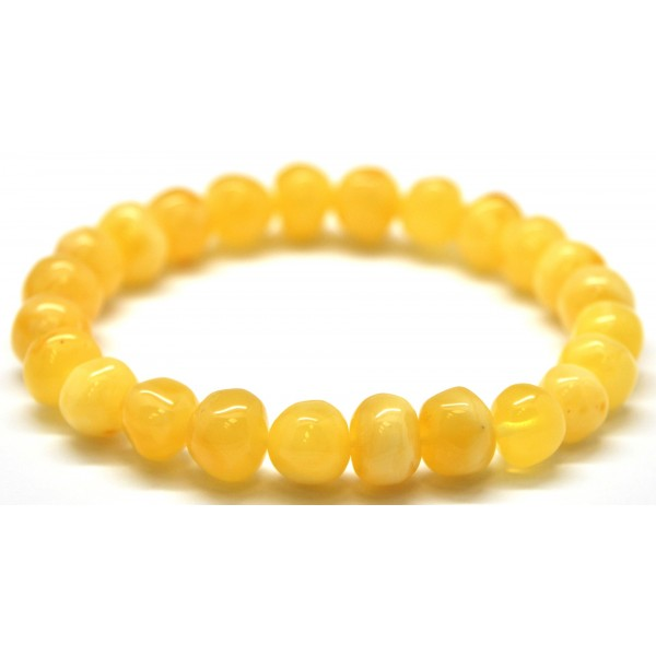 Yellow baroque beads Baltic amber bracelet-AB2129