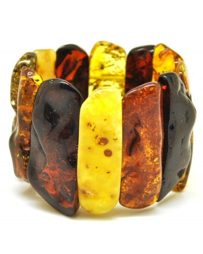 Natural shapes multicolour Baltic amber bracelet