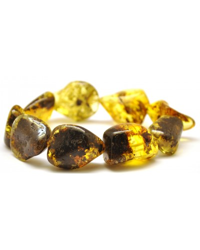 Natural shapes green Baltic amber  bracelet
