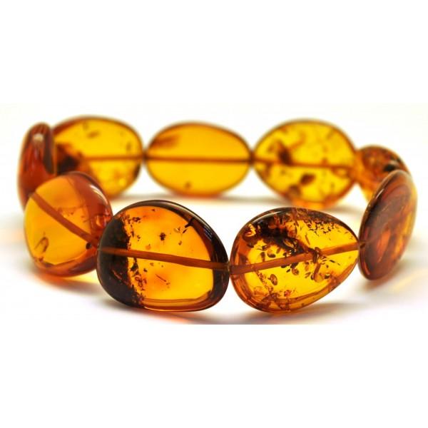 Amber bracelets | Cognac Baltic amber big beads bracelet