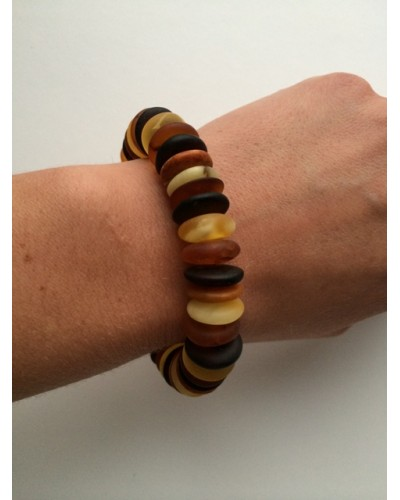 Unpolished Baltic amber multicolour bracelet