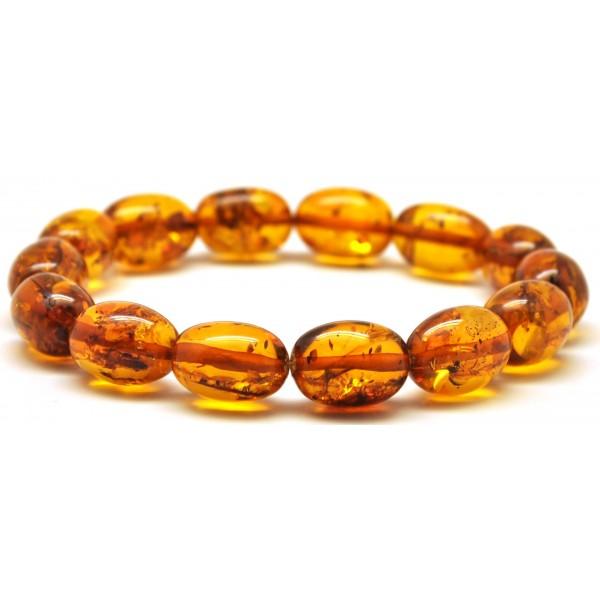 Amber bracelets | Cognac olive shape Baltic amber bracelet