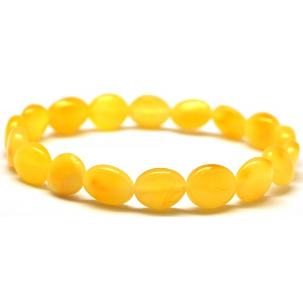 Wholesale | Button shape yellow Baltic amber bracelet