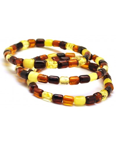 Lot of 3 barrel shape Baltic amber bracelets