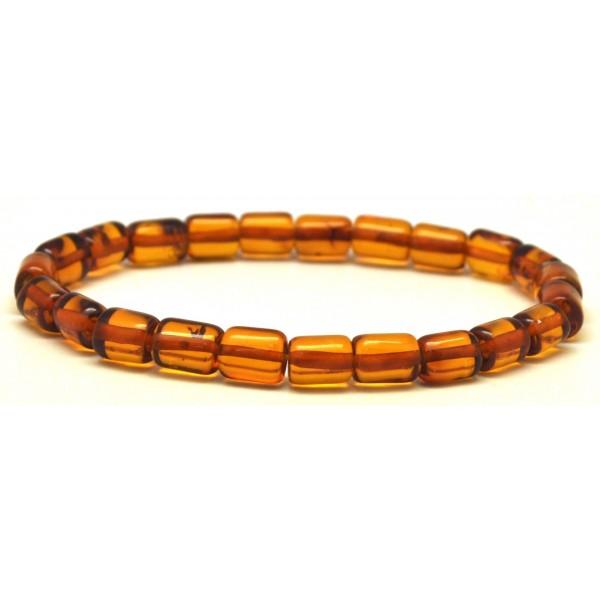 Amber bracelets | Cognac barrel shape Baltic amber bracelet