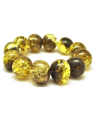 Green baroque beads Baltic amber bracelet