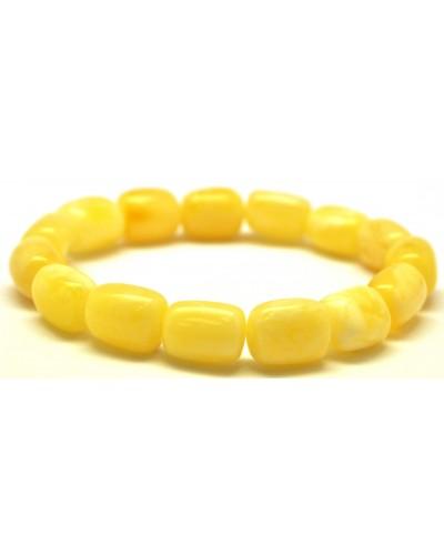 White barrel shape Baltic amber bracelet