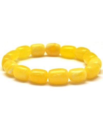 Yellow - white barrel shape Baltic amber bracelet