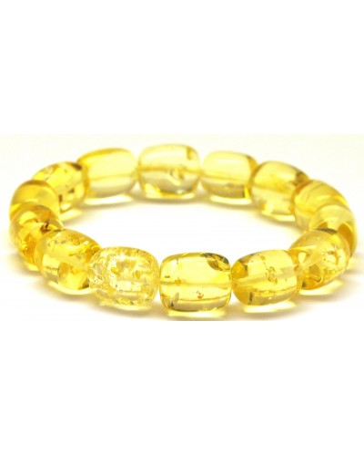 Lemon barrel shape Baltic amber bracelet