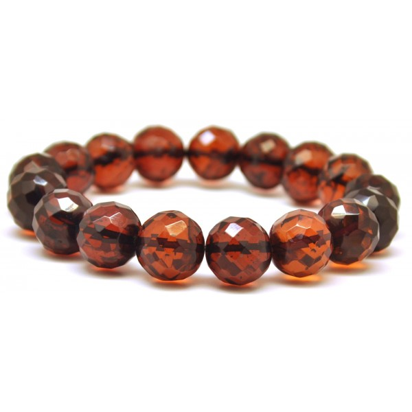 Baroque beads faceted cherry Baltic amber bracelet-AB2376