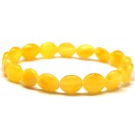 Button shape yellow Baltic amber bracelet