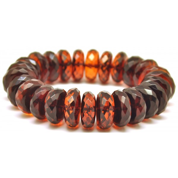 Cherry faceted elastic Baltic amber bracelet -AB2364