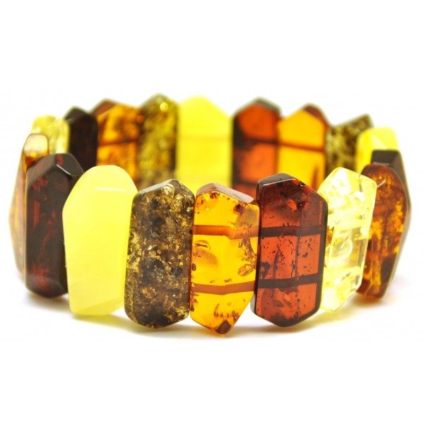 Faceted multicolor Baltic amber bracelet-AB2325