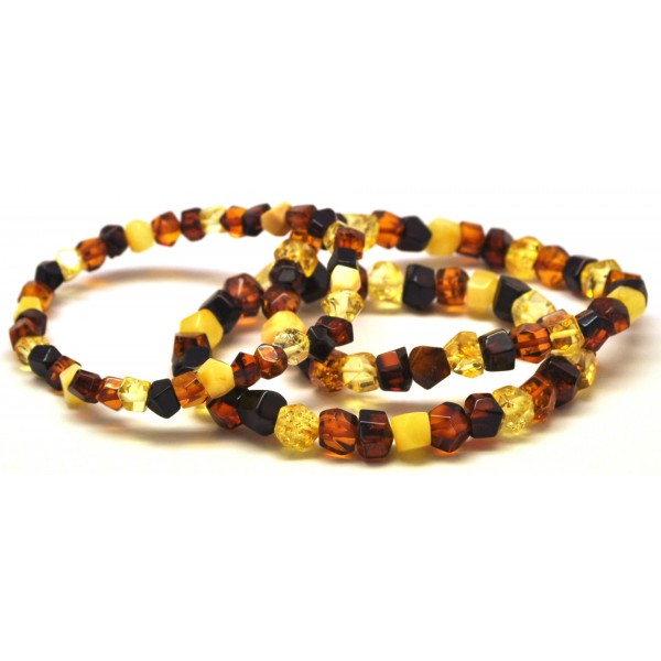 Lot of 3 faceted beads Baltic amber bracelets-AB2410
