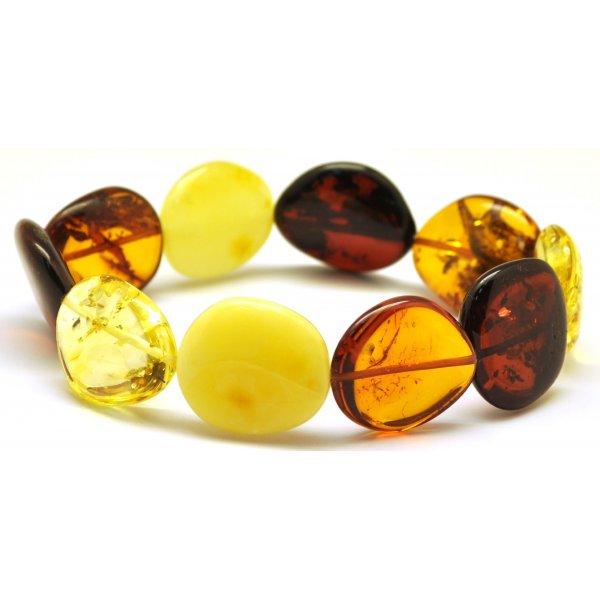 Multicolor Baltic amber big beads bracelet-AB2285