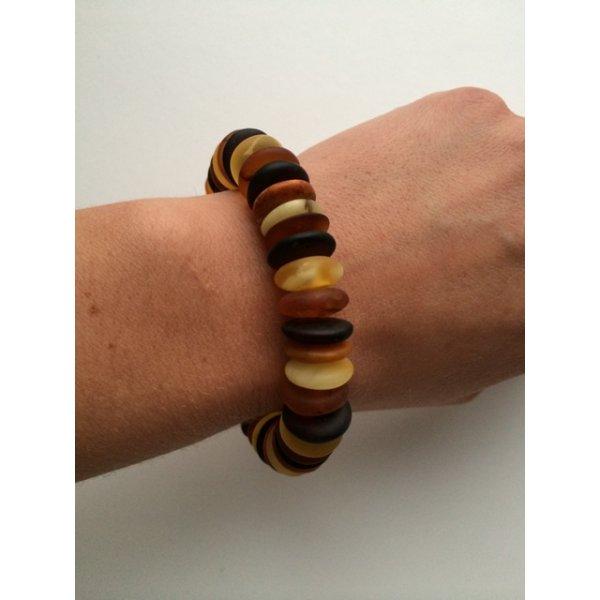 Unpolished Baltic amber multicolour bracelet-AB2311