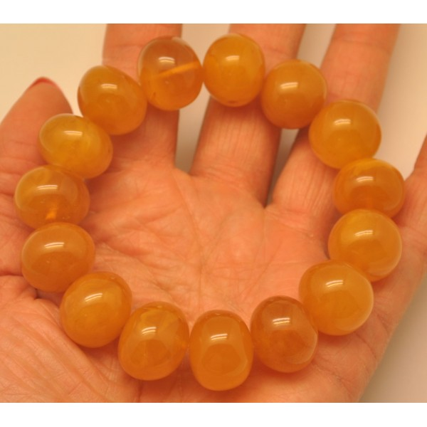 Amber bracelets | Antique color baroque beads amber bracelet