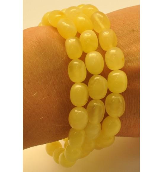 Lot of 3 yellow olive shape amber bracelets