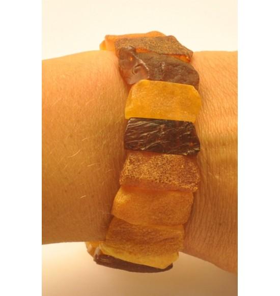 Raw  multicolor Baltic amber bracelet