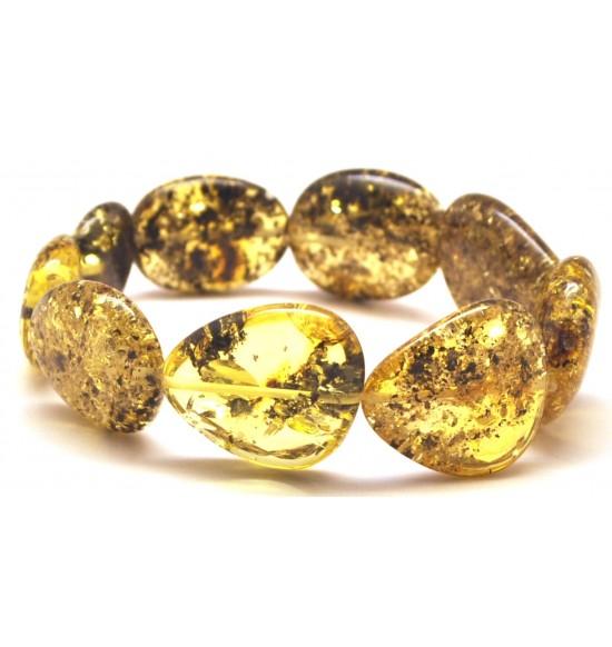 Baltic amber green big beads bracelet