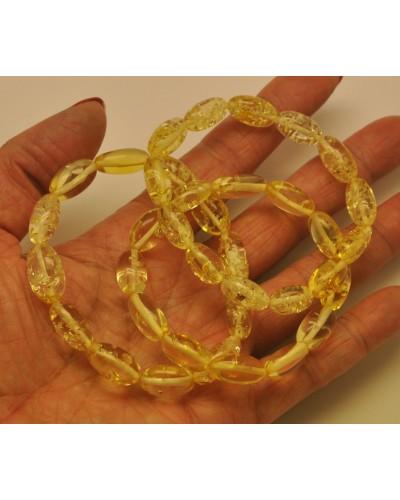 Lot of 3 lemon olive shape amber bracelets