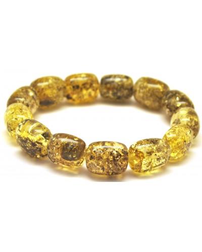 Green barrel shape Baltic amber bracelet