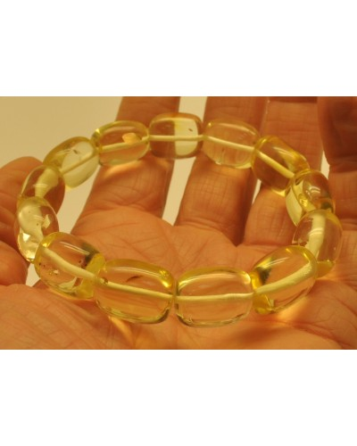 Natural transparent barrel shape amber bracelet