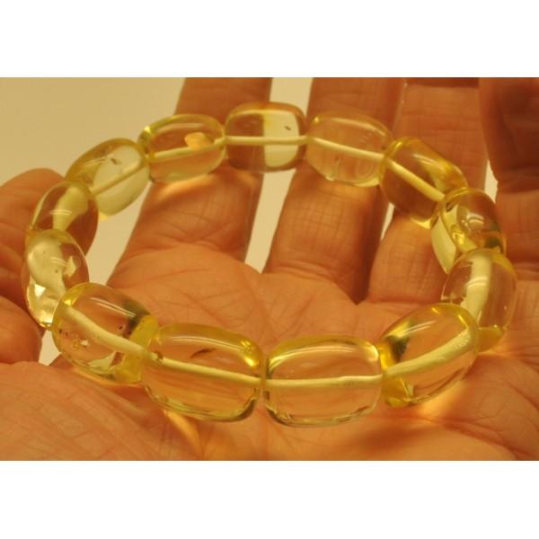 Natural transparent barrel shape amber bracelet