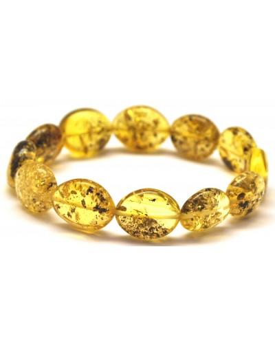 Button shape green Baltic amber bracelet