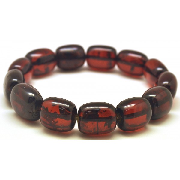 Amber bracelets | Cherry barrel shape Baltic amber bracelet