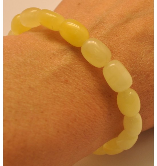 Yellow barrel shape Baltic amber bracelet