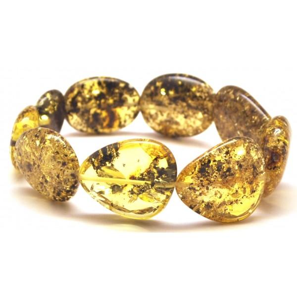 Baltic amber green big beads bracelet-AB2785