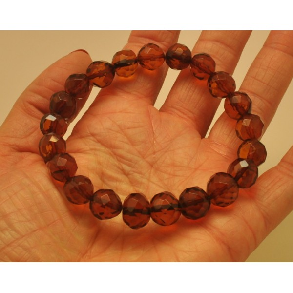 Baroque beads faceted Baltic amber bracelet-AB2794