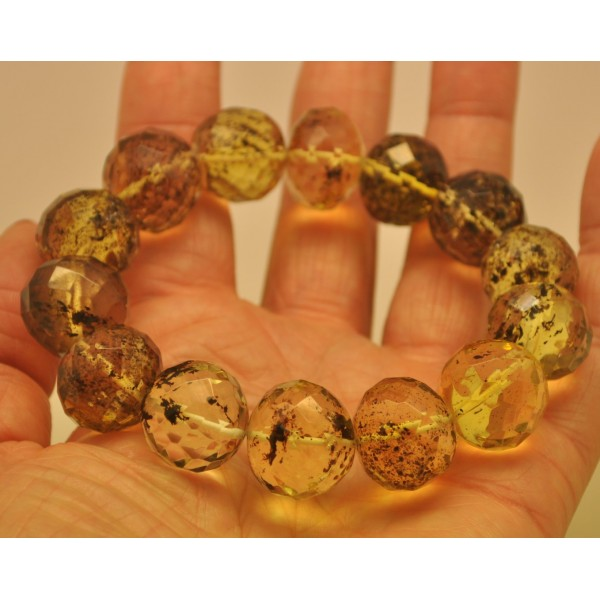 Baroque beads faceted Baltic amber bracelet-AB2796