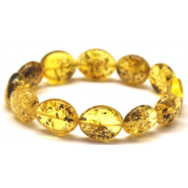 Button shape green Baltic amber bracelet-AB2863