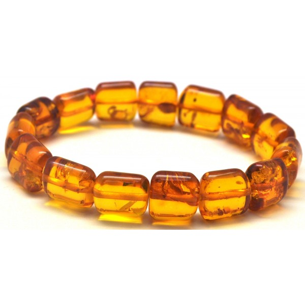 Cognac barrel shape Baltic amber bracelet-AB2819