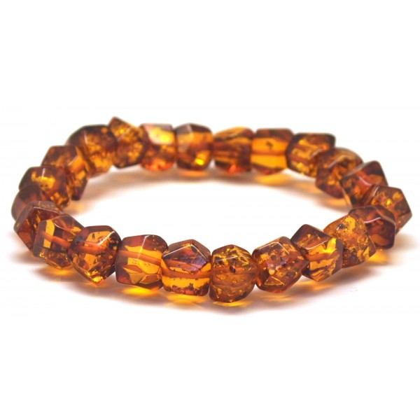 Faceted beads Baltic amber bracelet-AB2849