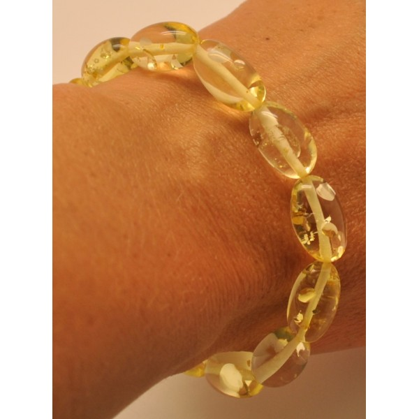 Lemon olive shape Baltic amber bracelet-AB2830