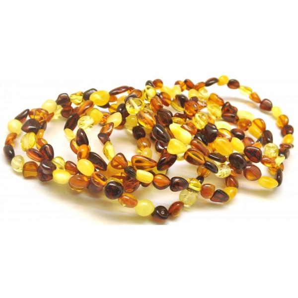 Lot of 10 multicolor beans shape amber bracelets-AB2897
