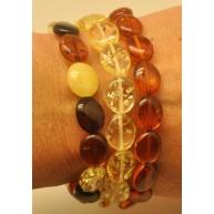 Lot of 3 button shape amber bracelets