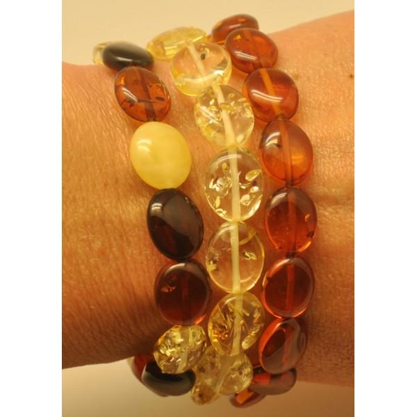 Lot of 3 button shape amber bracelets-AB2896