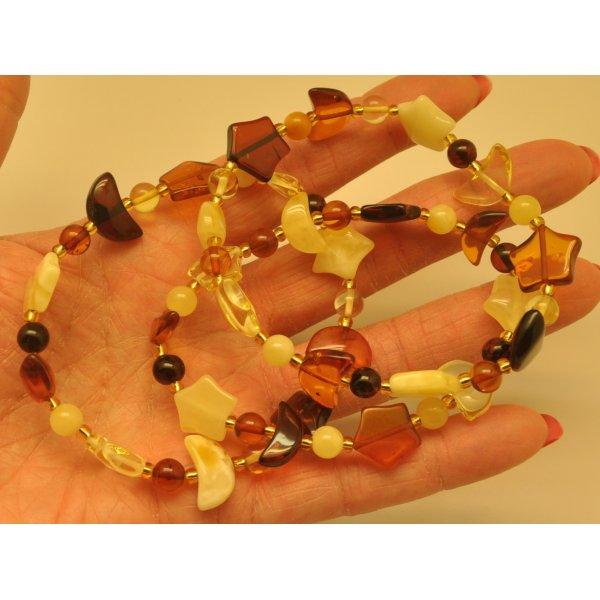 Lot of 3 elastic amber bracelets-AB2777