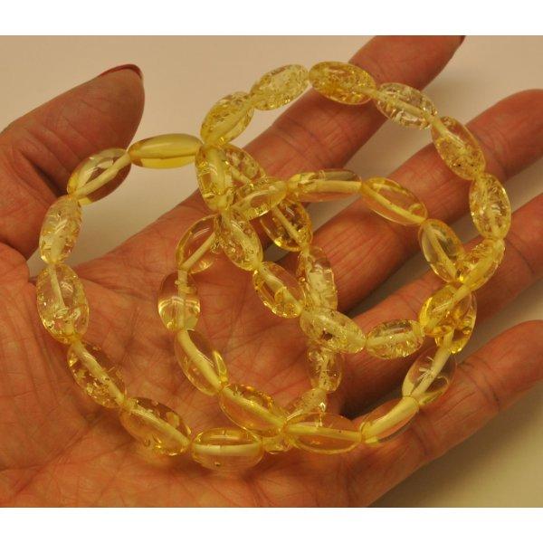 Lot of 3 lemon olive shape amber bracelets-AB2803