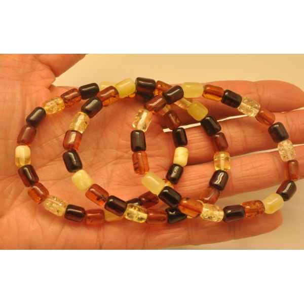 Lot of 3 multicolor barrel shape Baltic amber bracelets-AB2846