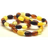 Lot of 3 olive shape amber bracelets
