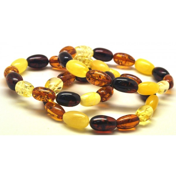 Lot of 3 olive shape amber bracelets-AB2802